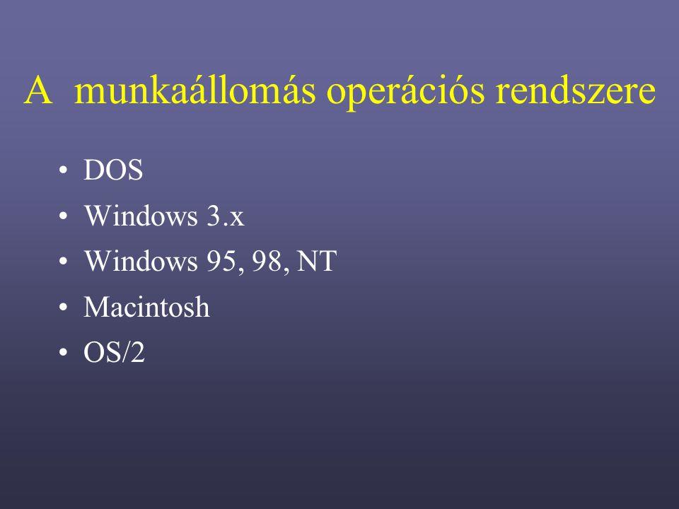 A munkaállomás operációs rendszere DOS Windows 3.x Windows 95, 98, NT Macintosh OS/2