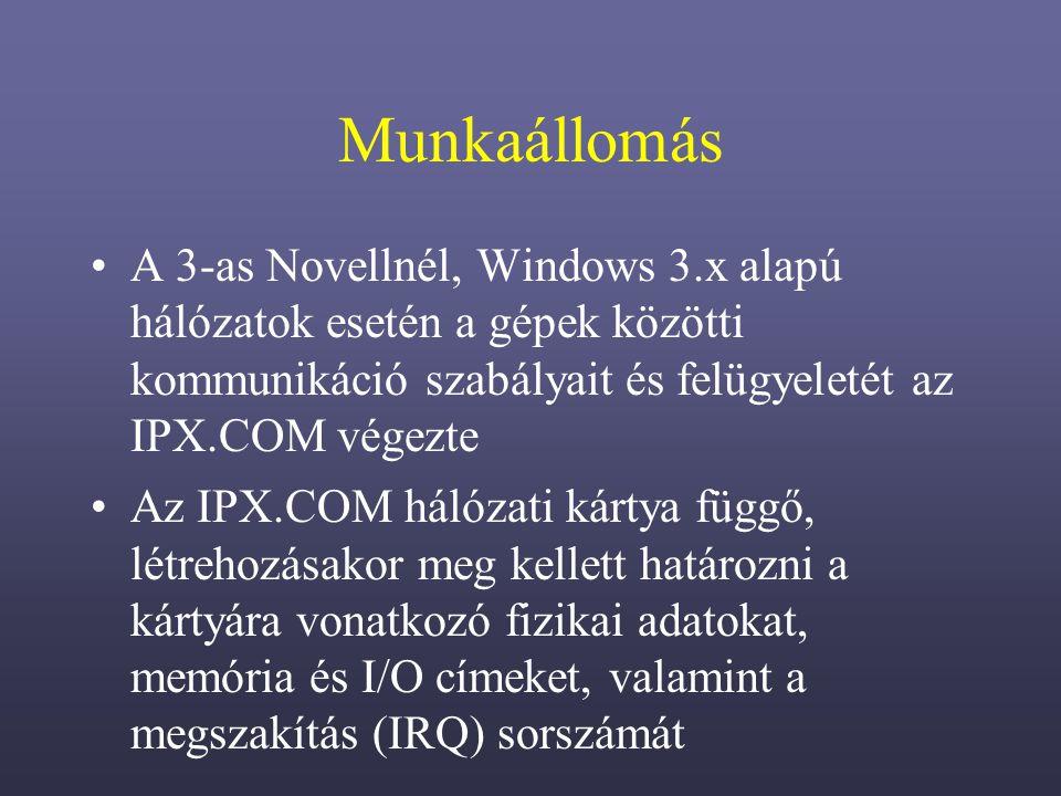 Munkaállomás A 3-as Novellnél, Windows 3.x alapú hálózatok esetén a gépek közötti kommunikáció szabályait és felügyeletét az IPX.COM végezte Az IPX.COM hálózati kártya függő, létrehozásakor meg kellett határozni a kártyára vonatkozó fizikai adatokat, memória és I/O címeket, valamint a megszakítás (IRQ) sorszámát