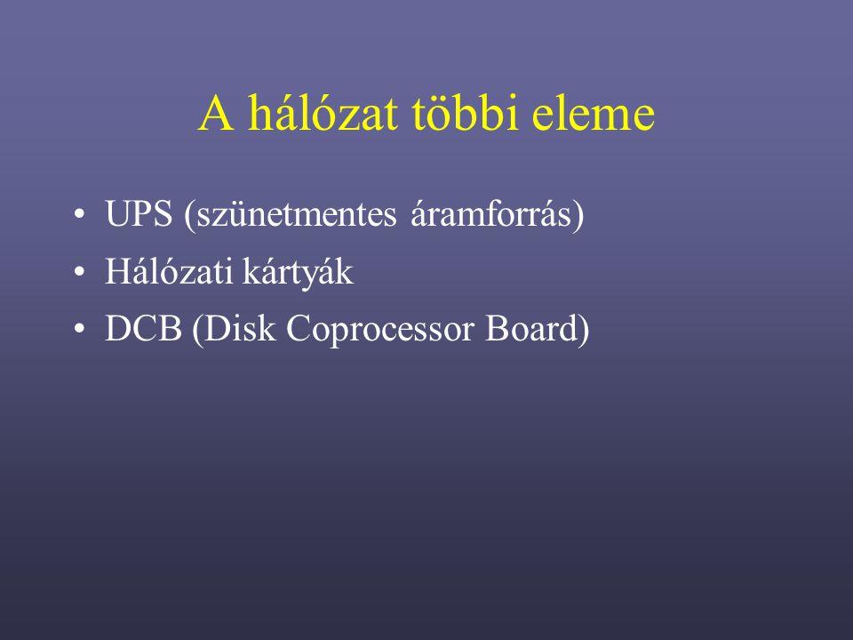 A hálózat többi eleme UPS (szünetmentes áramforrás) Hálózati kártyák DCB (Disk Coprocessor Board)