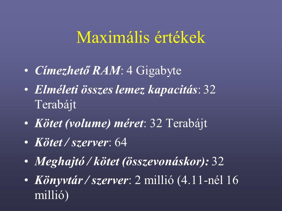 Maximális értékek Címezhető RAM: 4 Gigabyte Elméleti összes lemez kapacitás: 32 Terabájt Kötet (volume) méret: 32 Terabájt Kötet / szerver: 64 Meghajtó / kötet (összevonáskor): 32 Könyvtár / szerver: 2 millió (4.11-nél 16 millió)