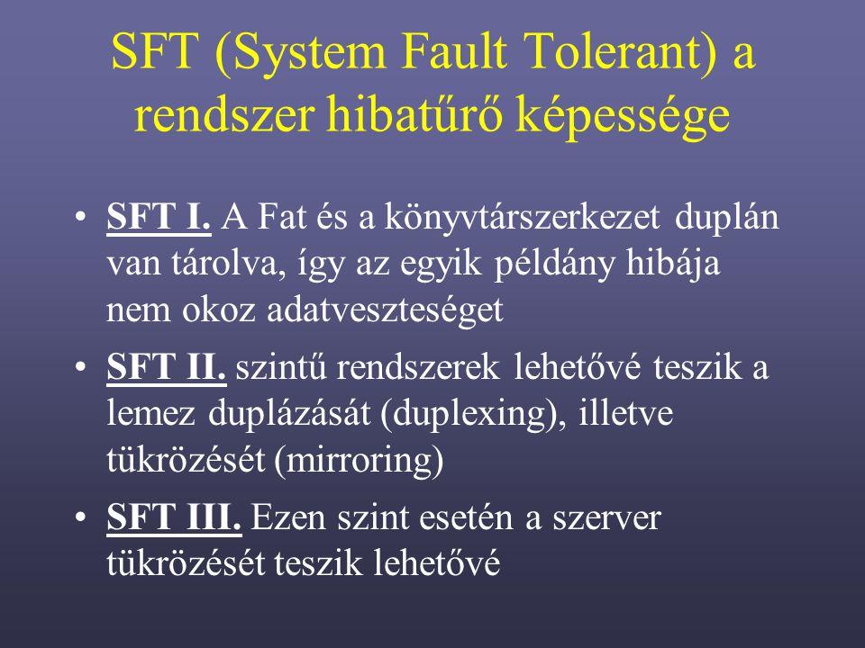 SFT (System Fault Tolerant) a rendszer hibatűrő képessége SFT I.