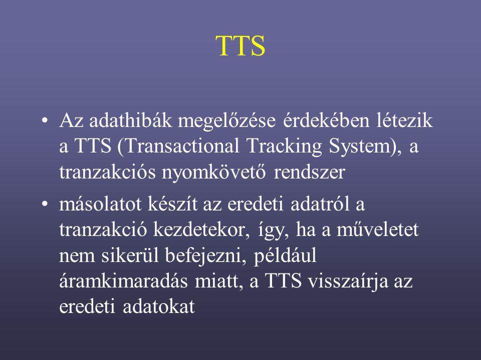 TTS Az adathibák megelőzése érdekében létezik a TTS (Transactional Tracking System), a tranzakciós nyomkövető rendszer másolatot készít az eredeti adatról a tranzakció kezdetekor, így, ha a műveletet nem sikerül befejezni, például áramkimaradás miatt, a TTS visszaírja az eredeti adatokat