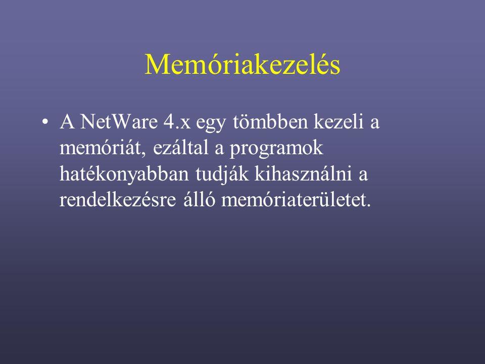 Memóriakezelés A NetWare 4.x egy tömbben kezeli a memóriát, ezáltal a programok hatékonyabban tudják kihasználni a rendelkezésre álló memóriaterületet.