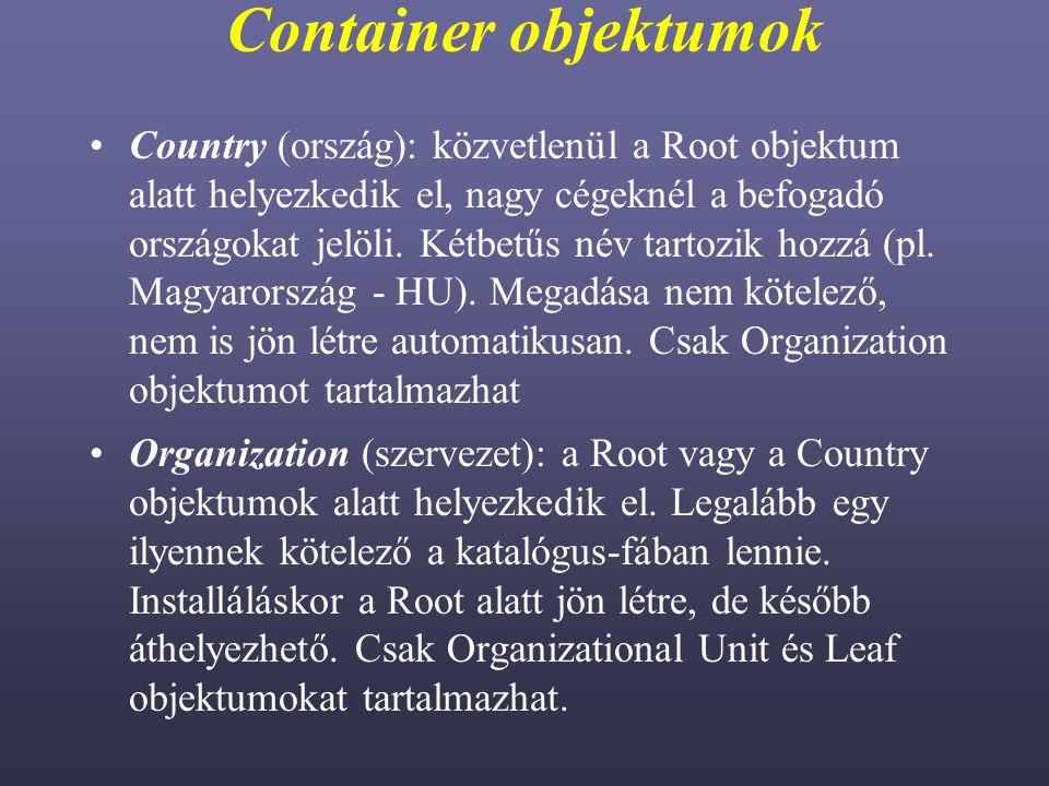 Container objektumok Country (ország): közvetlenül a Root objektum alatt helyezkedik el, nagy cégeknél a befogadó országokat jelöli.