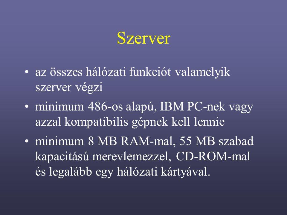 Szerver az összes hálózati funkciót valamelyik szerver végzi minimum 486-os alapú, IBM PC-nek vagy azzal kompatibilis gépnek kell lennie minimum 8 MB RAM-mal, 55 MB szabad kapacitású merevlemezzel, CD-ROM-mal és legalább egy hálózati kártyával.
