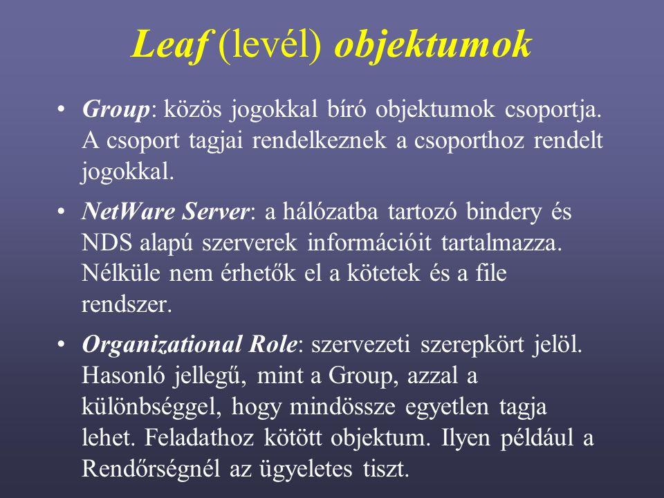 Leaf (levél) objektumok Group: közös jogokkal bíró objektumok csoportja.