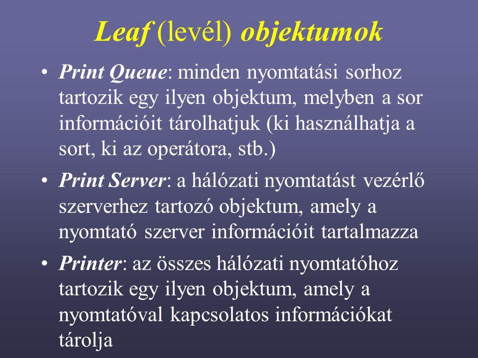 Leaf (levél) objektumok Print Queue: minden nyomtatási sorhoz tartozik egy ilyen objektum, melyben a sor információit tárolhatjuk (ki használhatja a sort, ki az operátora, stb.) Print Server: a hálózati nyomtatást vezérlő szerverhez tartozó objektum, amely a nyomtató szerver információit tartalmazza Printer: az összes hálózati nyomtatóhoz tartozik egy ilyen objektum, amely a nyomtatóval kapcsolatos információkat tárolja