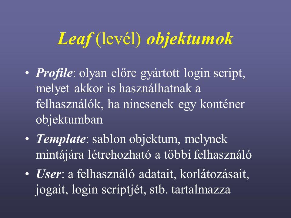 Leaf (levél) objektumok Profile: olyan előre gyártott login script, melyet akkor is használhatnak a felhasználók, ha nincsenek egy konténer objektumban Template: sablon objektum, melynek mintájára létrehozható a többi felhasználó User: a felhasználó adatait, korlátozásait, jogait, login scriptjét, stb.