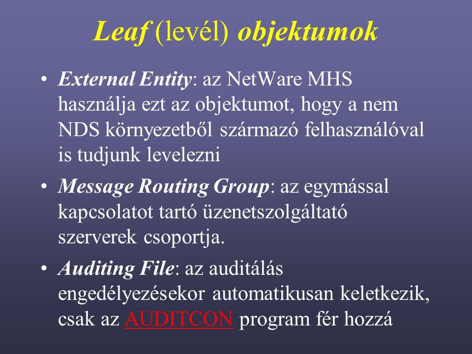 Leaf (levél) objektumok External Entity: az NetWare MHS használja ezt az objektumot, hogy a nem NDS környezetből származó felhasználóval is tudjunk levelezni Message Routing Group: az egymással kapcsolatot tartó üzenetszolgáltató szerverek csoportja.