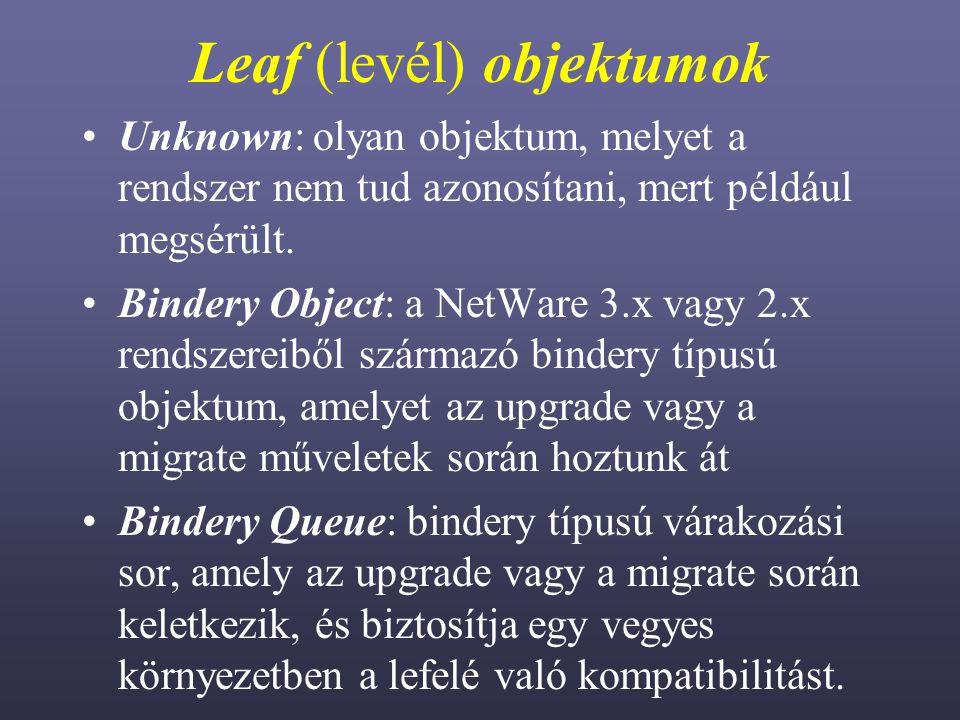 Leaf (levél) objektumok Unknown: olyan objektum, melyet a rendszer nem tud azonosítani, mert például megsérült.