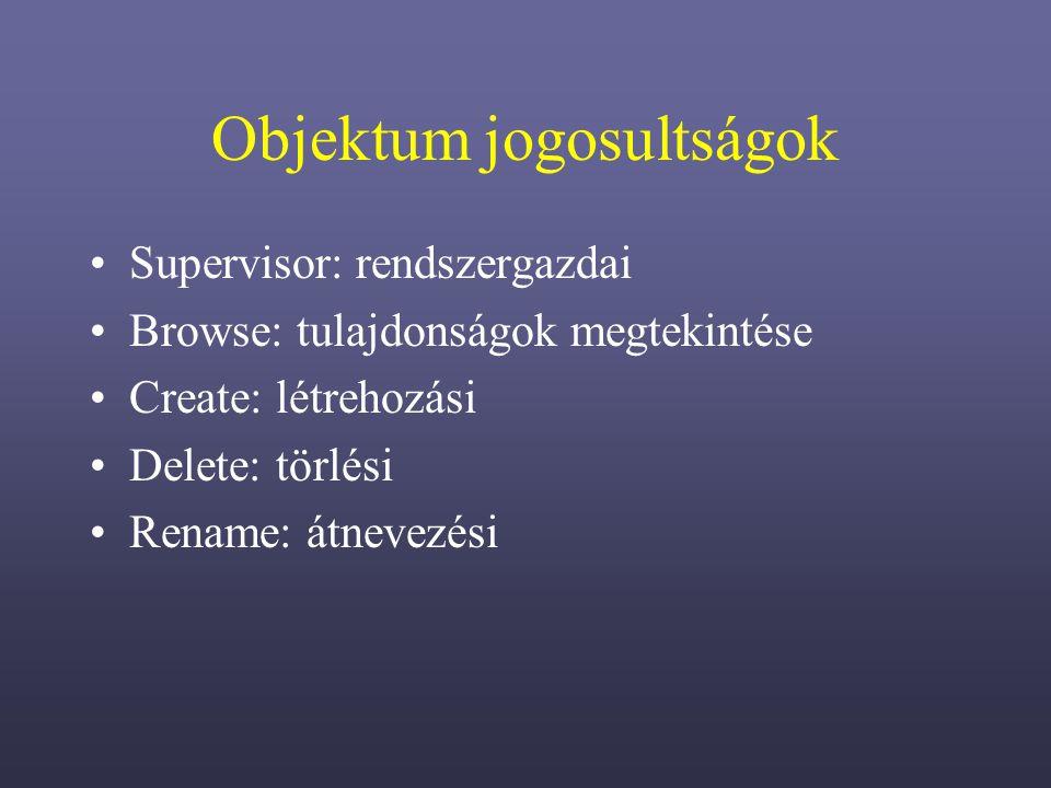 Objektum jogosultságok Supervisor: rendszergazdai Browse: tulajdonságok megtekintése Create: létrehozási Delete: törlési Rename: átnevezési