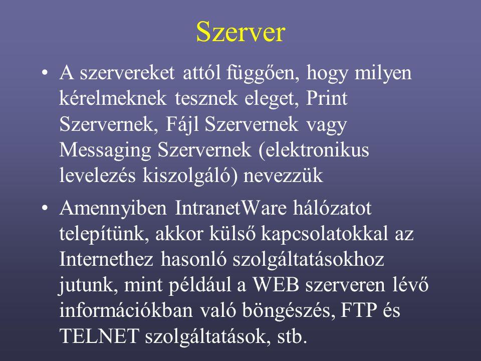 Szerver A szervereket attól függően, hogy milyen kérelmeknek tesznek eleget, Print Szervernek, Fájl Szervernek vagy Messaging Szervernek (elektronikus levelezés kiszolgáló) nevezzük Amennyiben IntranetWare hálózatot telepítünk, akkor külső kapcsolatokkal az Internethez hasonló szolgáltatásokhoz jutunk, mint például a WEB szerveren lévő információkban való böngészés, FTP és TELNET szolgáltatások, stb.