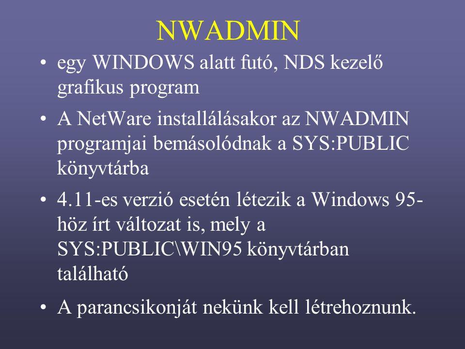 NWADMIN egy WINDOWS alatt futó, NDS kezelő grafikus program A NetWare installálásakor az NWADMIN programjai bemásolódnak a SYS:PUBLIC könyvtárba 4.11-es verzió esetén létezik a Windows 95- höz írt változat is, mely a SYS:PUBLIC\WIN95 könyvtárban található A parancsikonját nekünk kell létrehoznunk.