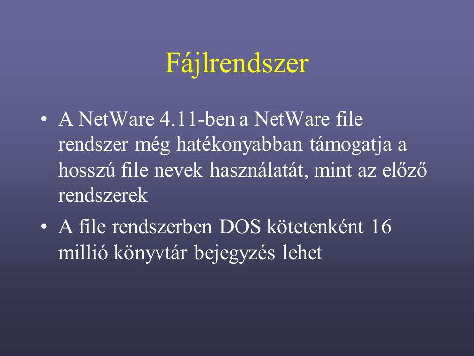 Fájlrendszer A NetWare 4.11-ben a NetWare file rendszer még hatékonyabban támogatja a hosszú file nevek használatát, mint az előző rendszerek A file rendszerben DOS kötetenként 16 millió könyvtár bejegyzés lehet