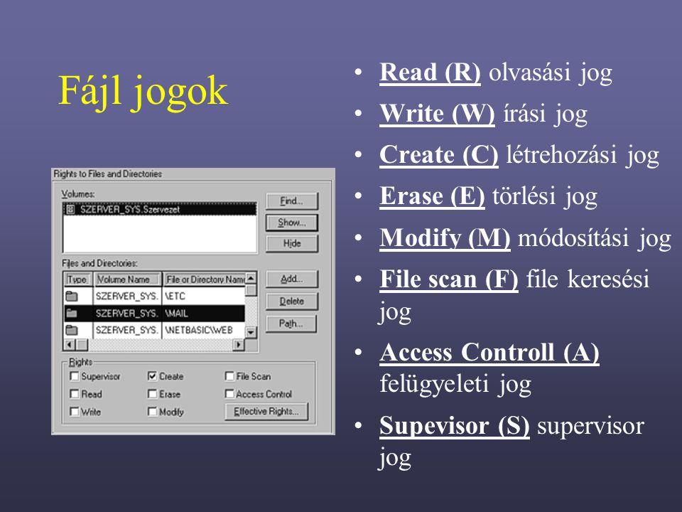 Fájl jogok Read (R) olvasási jog Write (W) írási jog Create (C) létrehozási jog Erase (E) törlési jog Modify (M) módosítási jog File scan (F) file keresési jog Access Controll (A) felügyeleti jog Supevisor (S) supervisor jog