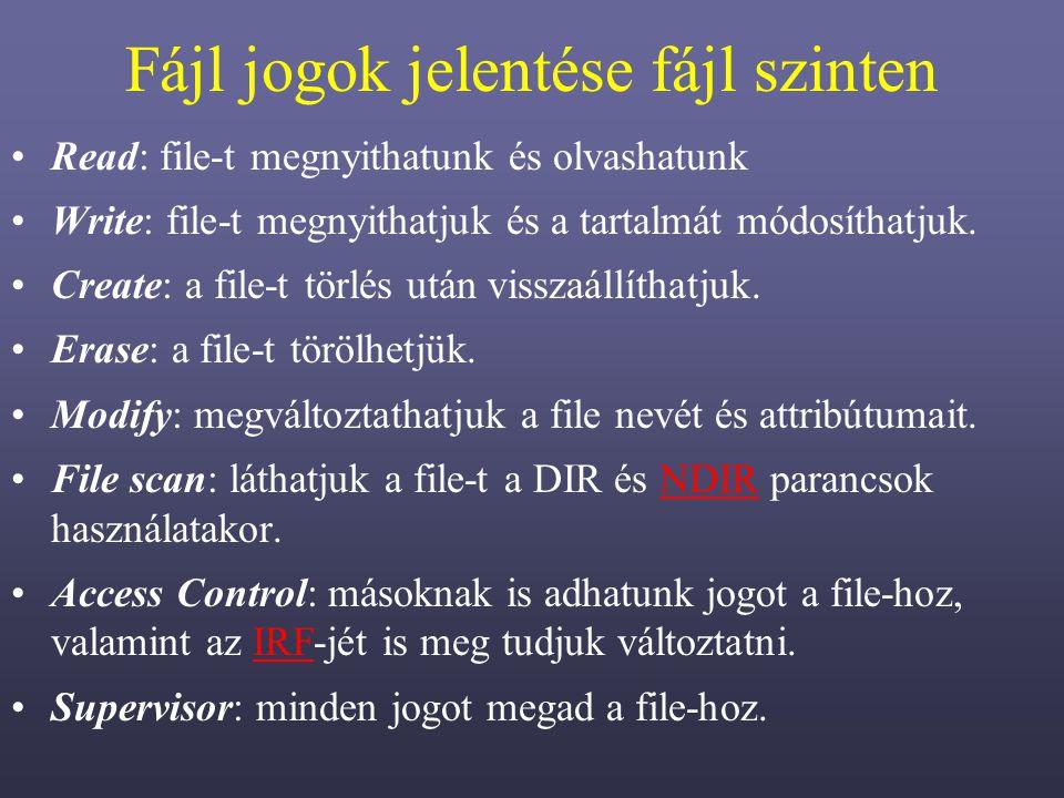 Fájl jogok jelentése fájl szinten Read: file-t megnyithatunk és olvashatunk Write: file-t megnyithatjuk és a tartalmát módosíthatjuk.