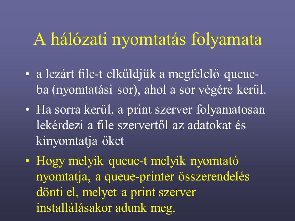 A hálózati nyomtatás folyamata a lezárt file-t elküldjük a megfelelő queue- ba (nyomtatási sor), ahol a sor végére kerül.