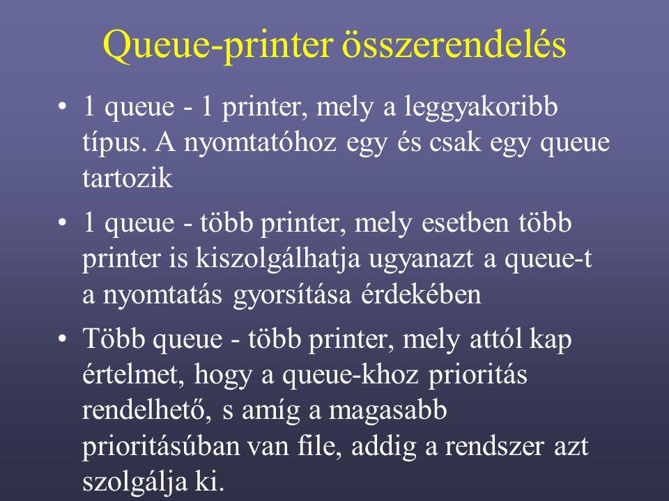 Queue-printer összerendelés 1 queue - 1 printer, mely a leggyakoribb típus.