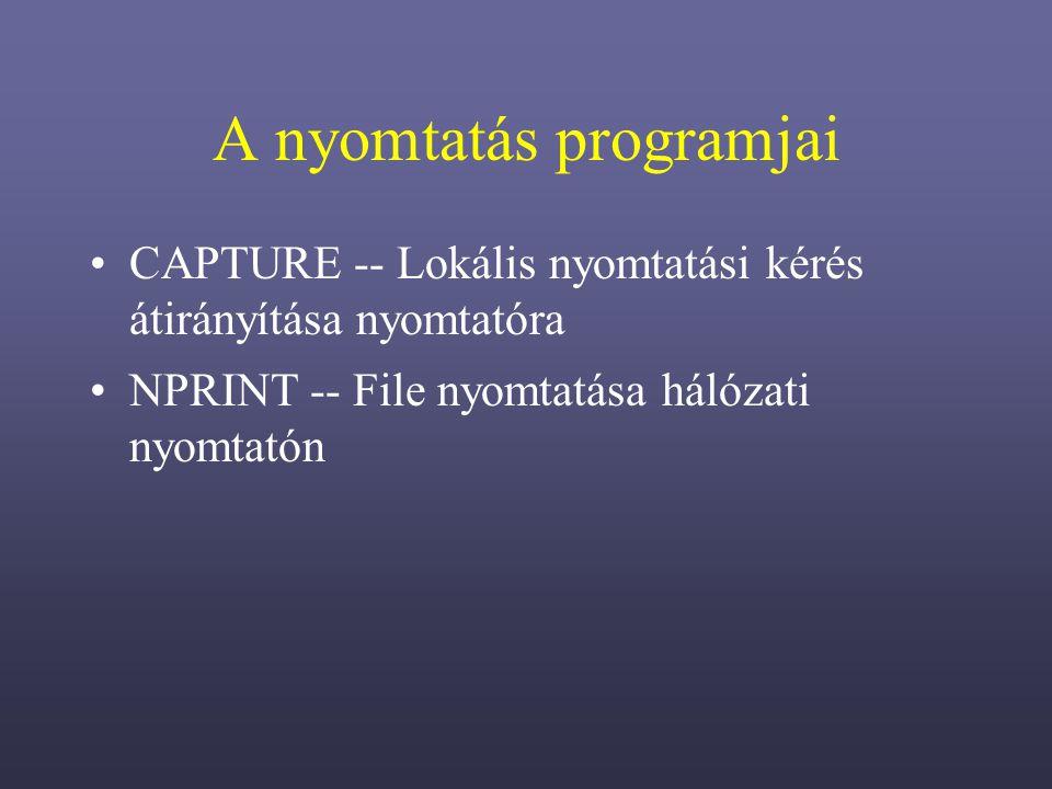 A nyomtatás programjai CAPTURE -- Lokális nyomtatási kérés átirányítása nyomtatóra NPRINT -- File nyomtatása hálózati nyomtatón
