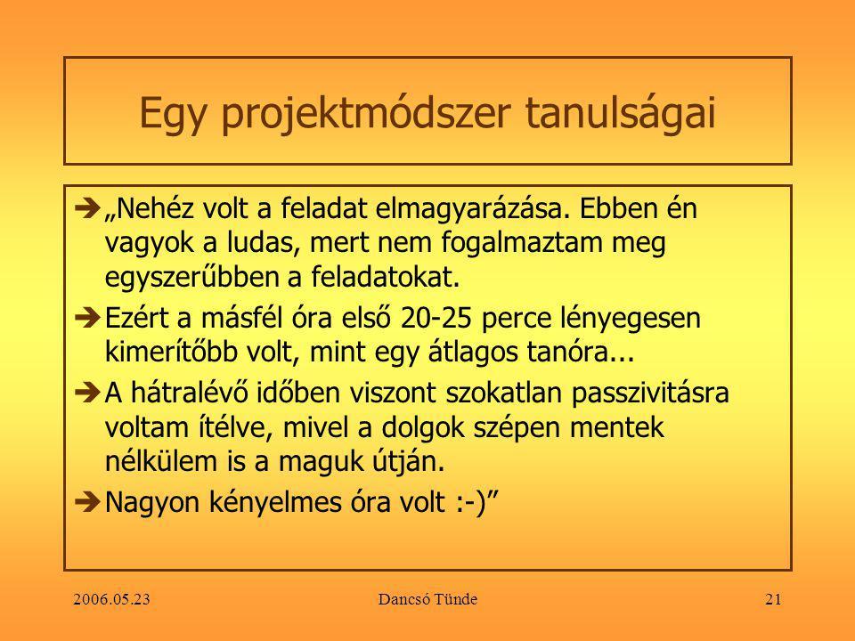 """2006.05.23Dancsó Tünde21 Egy projektmódszer tanulságai  """"Nehéz volt a feladat elmagyarázása."""