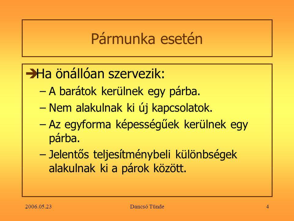 2006.05.23Dancsó Tünde4 Pármunka esetén  Ha önállóan szervezik: –A barátok kerülnek egy párba.