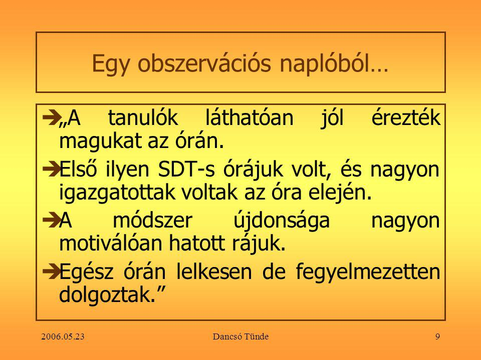 """2006.05.23Dancsó Tünde20 Értékelés a csoportmunka során  """"A csoportok munkájának értékelésénél pontosan kiderült, melyik feladatnál vannak hiányosságok és melyek azok, amik hibátlanul sikerültek."""