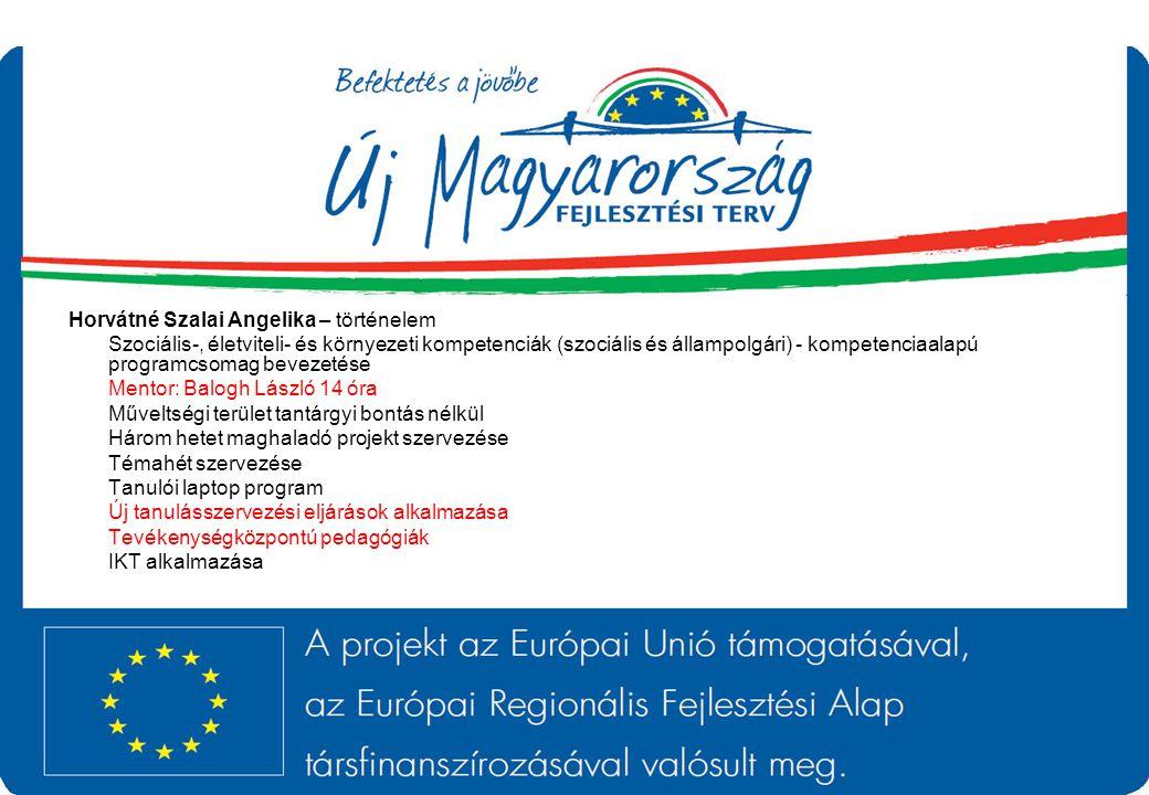 Horvátné Szalai Angelika – történelem Szociális-, életviteli- és környezeti kompetenciák (szociális és állampolgári) - kompetenciaalapú programcsomag
