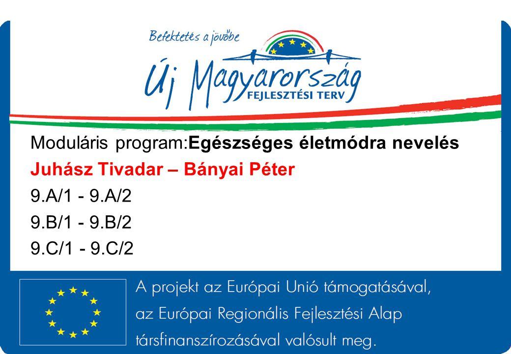 Moduláris program:Egészséges életmódra nevelés Juhász Tivadar – Bányai Péter 9.A/1 - 9.A/2 9.B/1 - 9.B/2 9.C/1 - 9.C/2