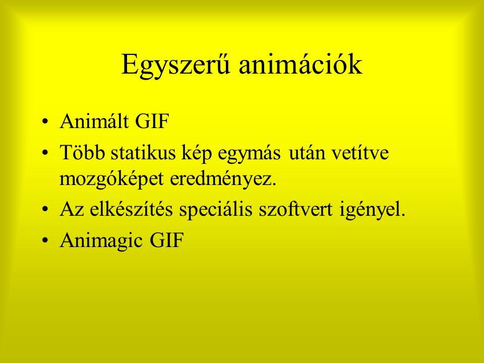 Egyszerű animációk Animált GIF Több statikus kép egymás után vetítve mozgóképet eredményez. Az elkészítés speciális szoftvert igényel. Animagic GIF