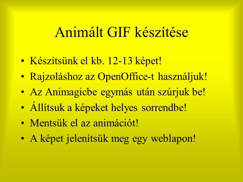 Animált GIF készítése Készítsünk el kb. 12-13 képet! Rajzoláshoz az OpenOffice-t használjuk! Az Animagicbe egymás után szúrjuk be! Állítsuk a képeket