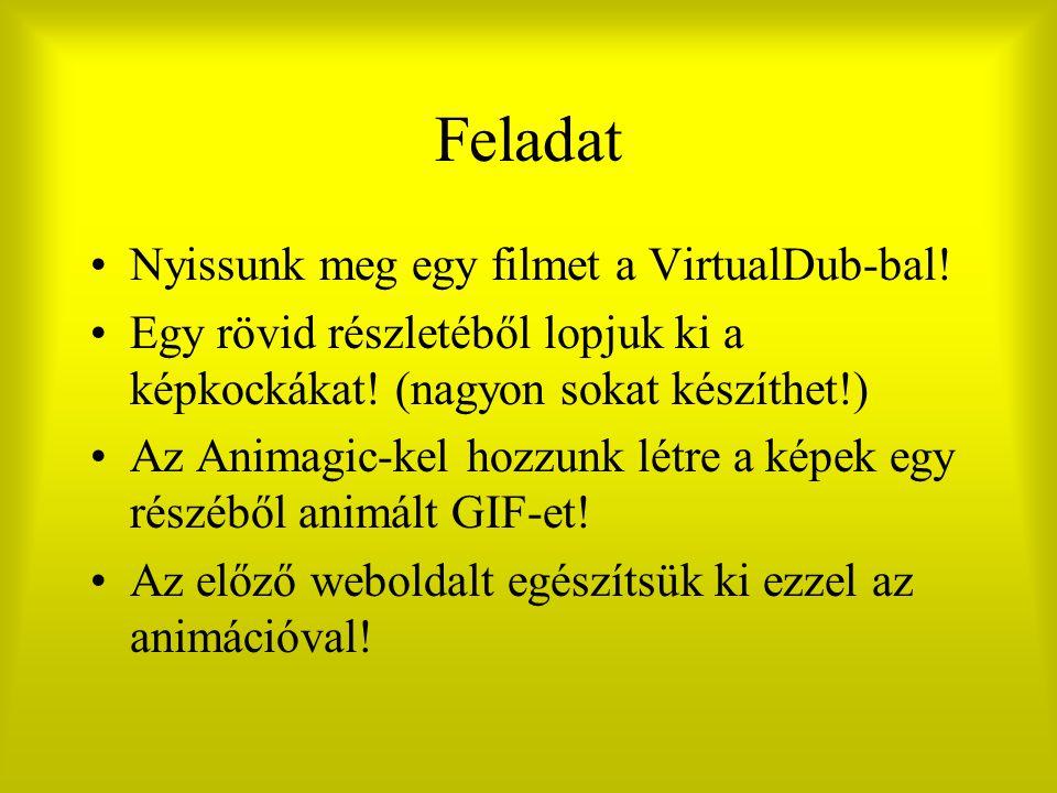 Feladat Nyissunk meg egy filmet a VirtualDub-bal! Egy rövid részletéből lopjuk ki a képkockákat! (nagyon sokat készíthet!) Az Animagic-kel hozzunk lét