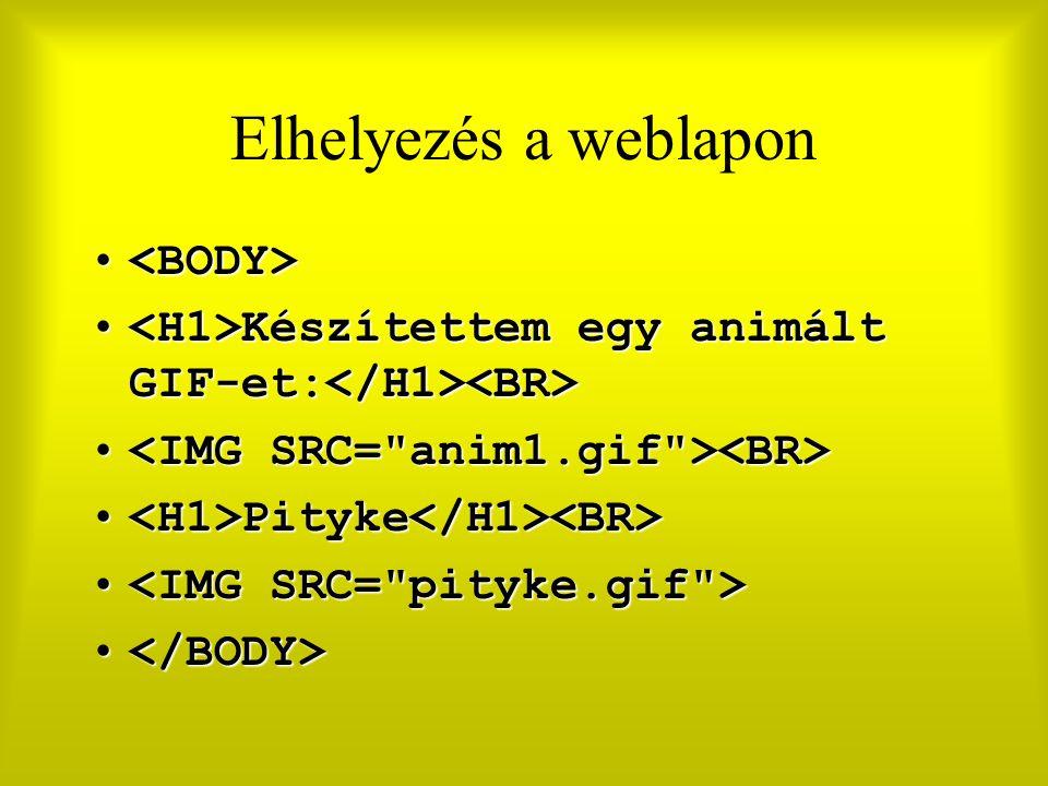 Elhelyezés a weblapon Készítettem egy animált GIF-et: Készítettem egy animált GIF-et: Pityke Pityke