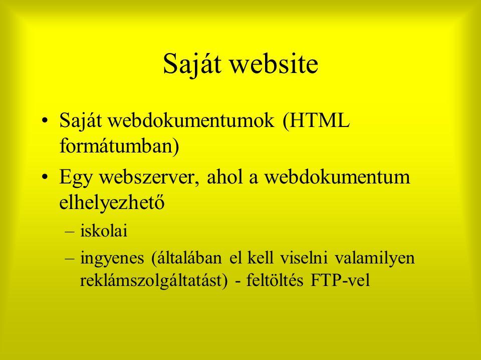 Saját website Saját webdokumentumok (HTML formátumban) Egy webszerver, ahol a webdokumentum elhelyezhető –iskolai –ingyenes (általában el kell viselni valamilyen reklámszolgáltatást) - feltöltés FTP-vel