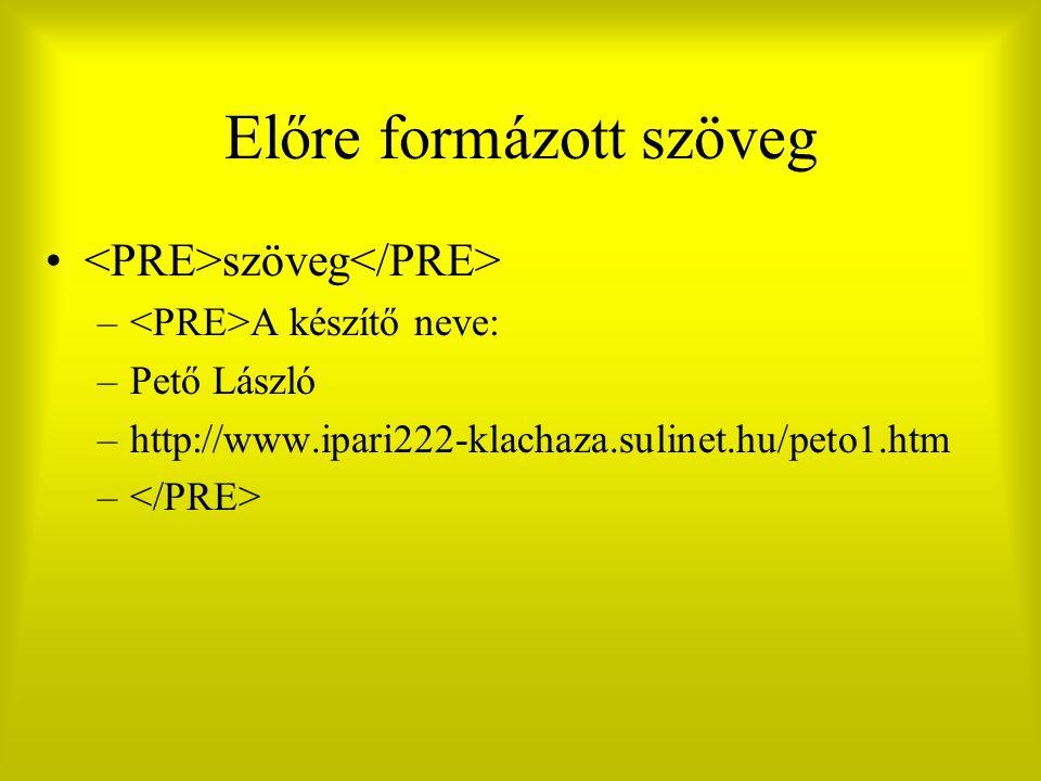 Előre formázott szöveg szöveg – A készítő neve: –Pető László –http://www.ipari222-klachaza.sulinet.hu/peto1.htm –