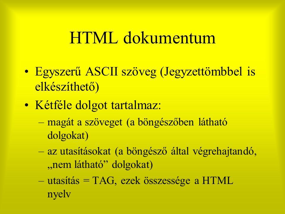 """HTML dokumentum Egyszerű ASCII szöveg (Jegyzettömbbel is elkészíthető) Kétféle dolgot tartalmaz: –magát a szöveget (a böngészőben látható dolgokat) –az utasításokat (a böngésző által végrehajtandó, """"nem látható dolgokat) –utasítás = TAG, ezek összessége a HTML nyelv"""