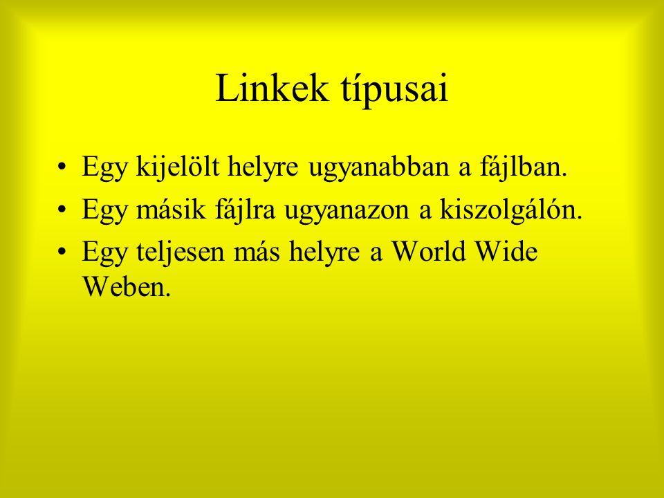 Linkek típusai Egy kijelölt helyre ugyanabban a fájlban. Egy másik fájlra ugyanazon a kiszolgálón. Egy teljesen más helyre a World Wide Weben.