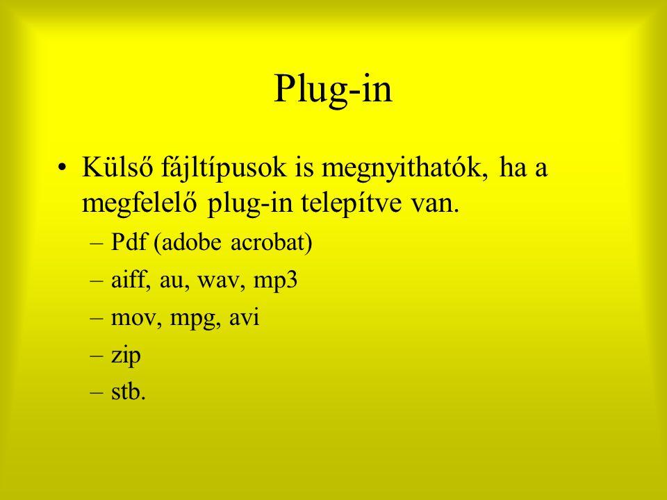 Plug-in Külső fájltípusok is megnyithatók, ha a megfelelő plug-in telepítve van. –Pdf (adobe acrobat) –aiff, au, wav, mp3 –mov, mpg, avi –zip –stb.