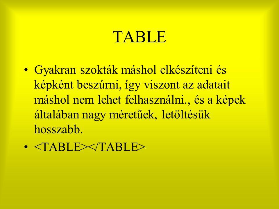 TABLE Gyakran szokták máshol elkészíteni és képként beszúrni, így viszont az adatait máshol nem lehet felhasználni., és a képek általában nagy méretűek, letöltésük hosszabb.