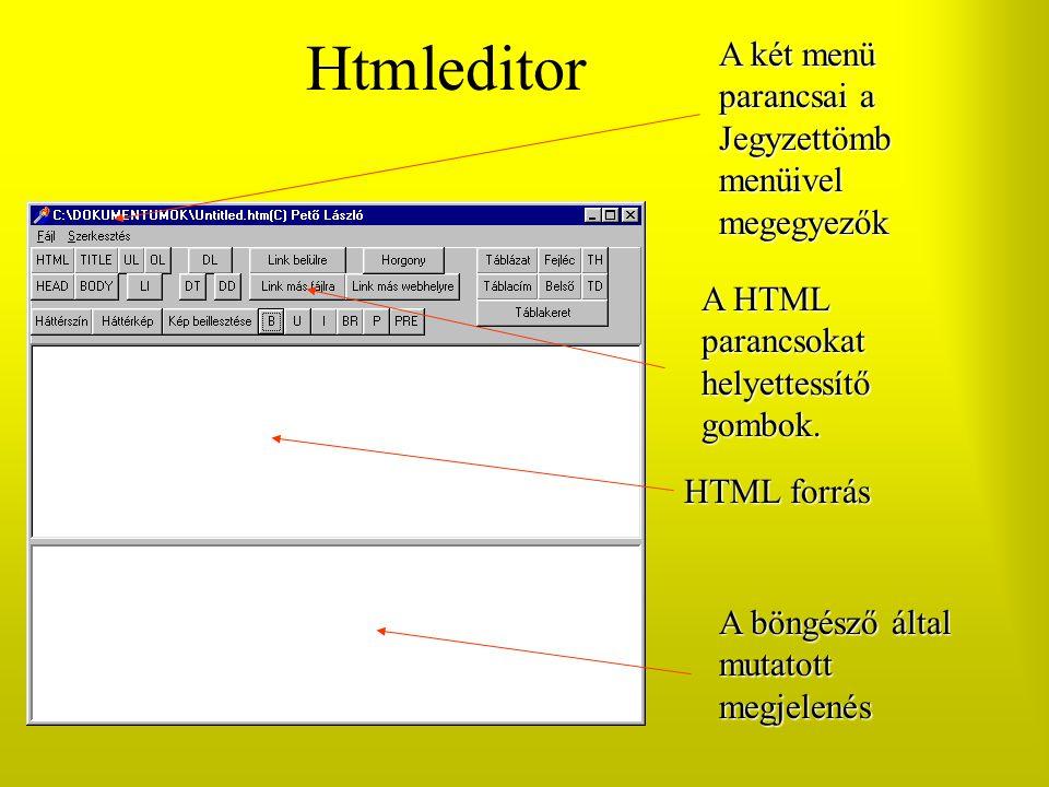 Htmleditor A két menü parancsai a Jegyzettömb menüivel megegyezők A HTML parancsokat helyettessítő gombok. HTML forrás A böngésző által mutatott megje