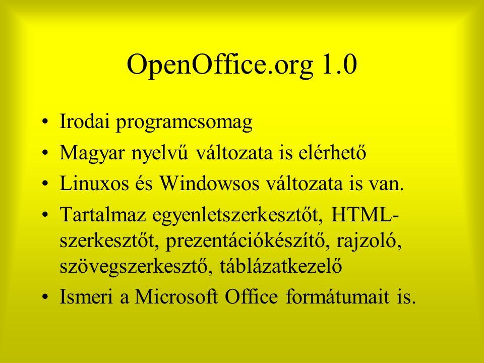 OpenOffice.org 1.0 Irodai programcsomag Magyar nyelvű változata is elérhető Linuxos és Windowsos változata is van. Tartalmaz egyenletszerkesztőt, HTML