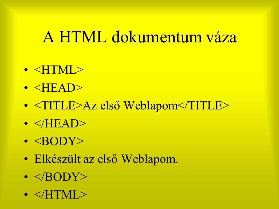 A HTML dokumentum váza Az első Weblapom Elkészült az első Weblapom.