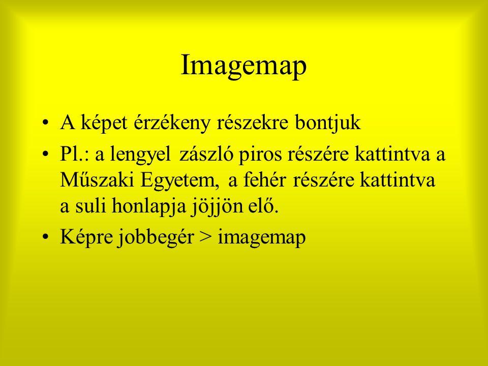Imagemap A képet érzékeny részekre bontjuk Pl.: a lengyel zászló piros részére kattintva a Műszaki Egyetem, a fehér részére kattintva a suli honlapja jöjjön elő.