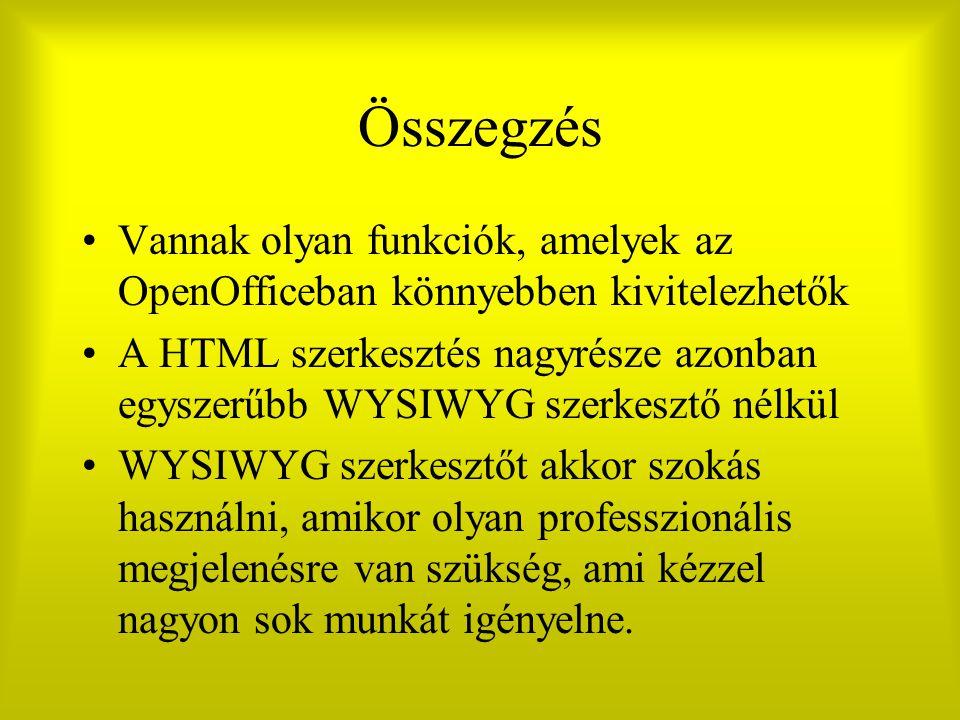 Összegzés Vannak olyan funkciók, amelyek az OpenOfficeban könnyebben kivitelezhetők A HTML szerkesztés nagyrésze azonban egyszerűbb WYSIWYG szerkesztő nélkül WYSIWYG szerkesztőt akkor szokás használni, amikor olyan professzionális megjelenésre van szükség, ami kézzel nagyon sok munkát igényelne.