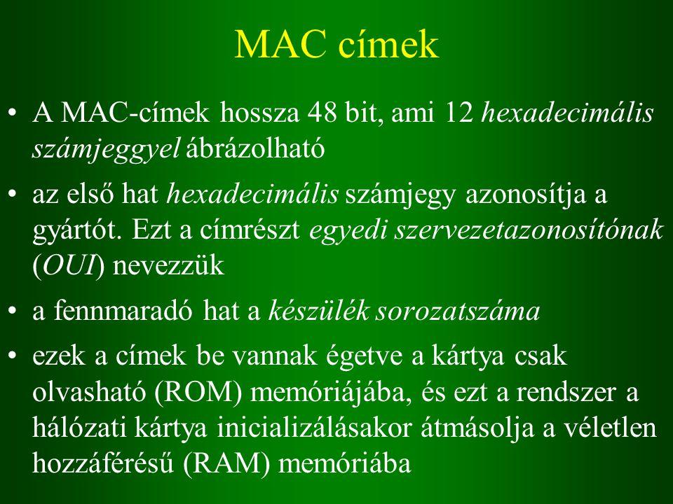 MAC címek A MAC-címek hossza 48 bit, ami 12 hexadecimális számjeggyel ábrázolható az első hat hexadecimális számjegy azonosítja a gyártót.
