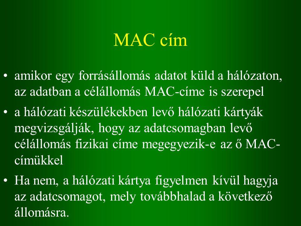 MAC cím amikor egy forrásállomás adatot küld a hálózaton, az adatban a célállomás MAC-címe is szerepel a hálózati készülékekben levő hálózati kártyák megvizsgálják, hogy az adatcsomagban levő célállomás fizikai címe megegyezik-e az ő MAC- címükkel Ha nem, a hálózati kártya figyelmen kívül hagyja az adatcsomagot, mely továbbhalad a következő állomásra.
