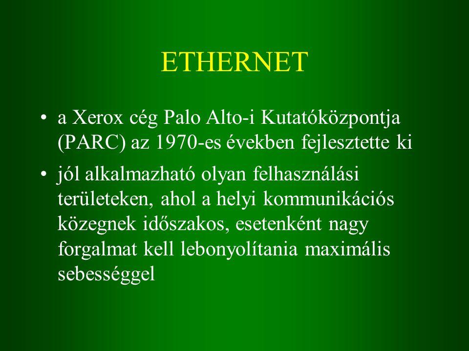 ETHERNET a Xerox cég Palo Alto-i Kutatóközpontja (PARC) az 1970-es években fejlesztette ki jól alkalmazható olyan felhasználási területeken, ahol a helyi kommunikációs közegnek időszakos, esetenként nagy forgalmat kell lebonyolítania maximális sebességgel