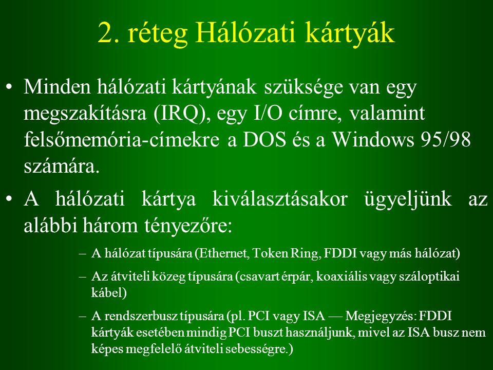 2. réteg Hálózati kártyák Minden hálózati kártyának szüksége van egy megszakításra (IRQ), egy I/O címre, valamint felsőmemória-címekre a DOS és a Wind