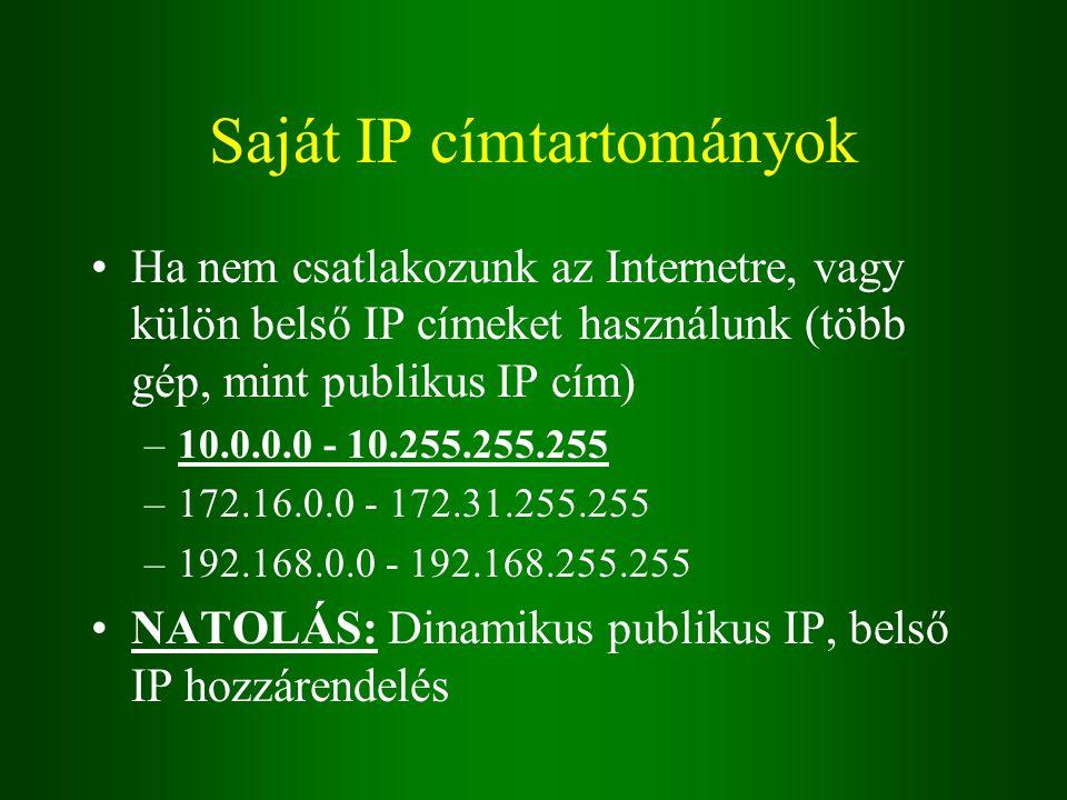 Saját IP címtartományok Ha nem csatlakozunk az Internetre, vagy külön belső IP címeket használunk (több gép, mint publikus IP cím) –10.0.0.0 - 10.255.255.255 –172.16.0.0 - 172.31.255.255 –192.168.0.0 - 192.168.255.255 NATOLÁS: Dinamikus publikus IP, belső IP hozzárendelés