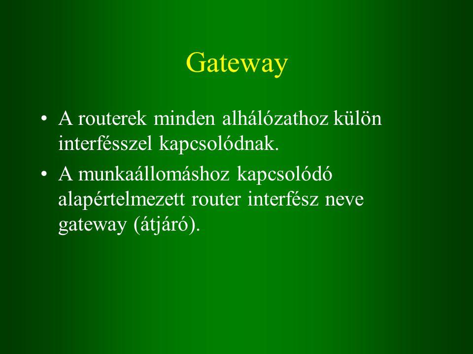 Gateway A routerek minden alhálózathoz külön interfésszel kapcsolódnak.