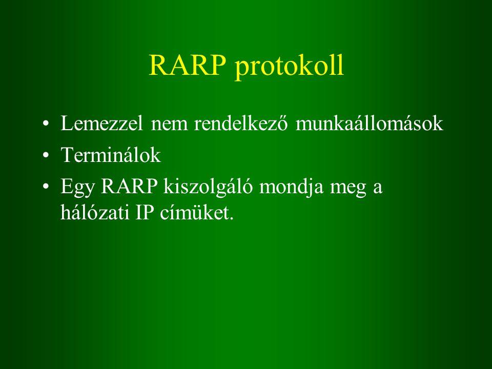 RARP protokoll Lemezzel nem rendelkező munkaállomások Terminálok Egy RARP kiszolgáló mondja meg a hálózati IP címüket.